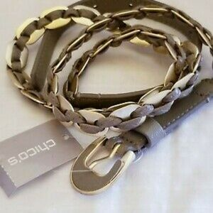 Chicos Gray Silver Metal Belt Intertwined S